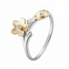 Кольцо в белом и желтом золоте Торения с фианитами