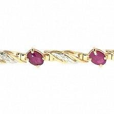 Золотой браслет Блюз с рубинами и бриллиантами