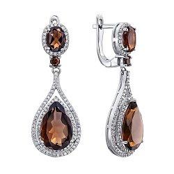 Серебряные серьги-подвески с раухтопазами и цирконием 000137578