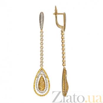 Серьги-подвески из желтого золота с белым и желтым цирконием Кристин VLT--ТТ2298