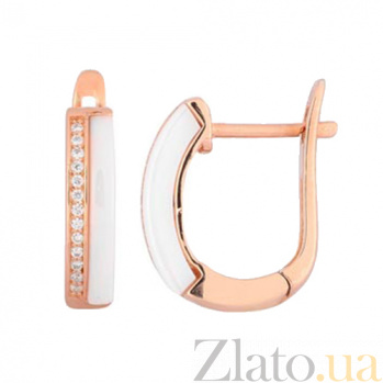 Позолоченные серебряные серьги с керамикой и цирконием Берлин SLX--СК3ФК1/1000
