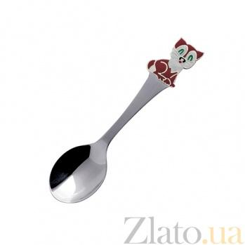 Серебряная детская чайная ложка Кот-часы с эмалью ZMX--1285_1210/корич