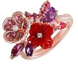 Золотое кольцо с бриллиантами, аметистами, родолитами, топазами и агатом Лоретта