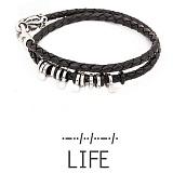 Кожаный браслет с серебром Life
