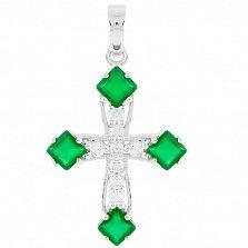 Серебряный крестик Элодия с зеленым агатом и фианитами