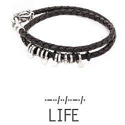 Кожаный браслет со словом Life из серебра азбукой Морзе