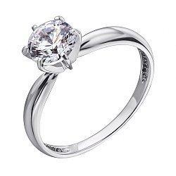 Помолвочное кольцо из белого золота с цирконием Swarovski 000036631