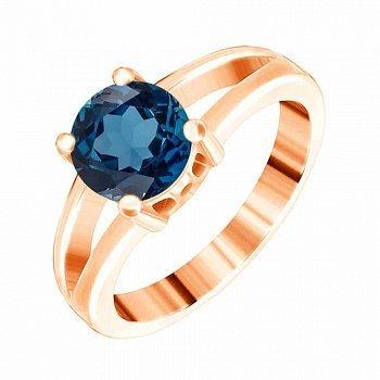 Серебряное позолоченное кольцо с фианитом цвета лондон топаза 000028441