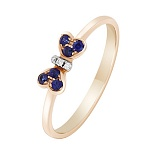 Золотое кольцо Бантик с сапфирами и бриллиантами