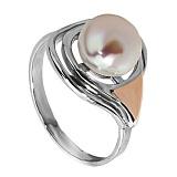 Серебряное кольцо Колибри с жемчугом и золотой вставкой