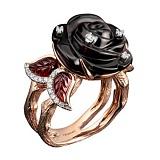 Золотое кольцо с бриллиантами и гранатами Роза ночи