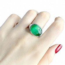 Серебряное кольцо Лиора с зеленым кошачьим глазом