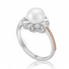 Серебряное кольцо Виола с золотой вставкой, жемчугом и фианитами