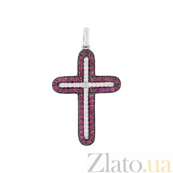 Золотой крестик с рубинами и бриллиантами Свет души 000026746