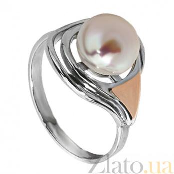 Серебряное кольцо Колибри с жемчугом и золотой вставкой BGS--272к