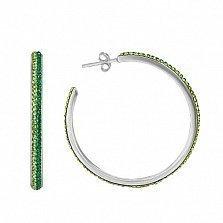 Серебряные серьги Саламандра с зелеными фианитами