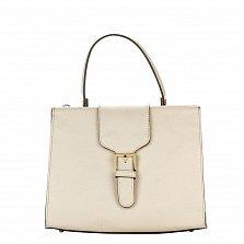 Кожаная деловая сумка Genuine Leather 8681 бежевого цвета с клапаном на магнитной кнопке