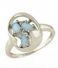 Серебряное кольцо Зузанна с голубым опалом и фианитами