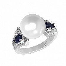 Серебряное кольцо Ума с синтезированным сапфиром, жемчугом и фианитами