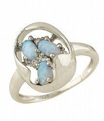 Серебряное кольцо с голубым опалом и фианитами 000063175