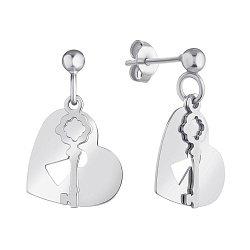 Серебряные серьги-подвески Сердце и ключ 000147428
