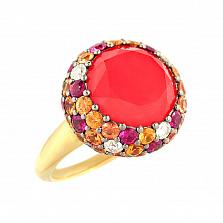 Золотое кольцо с кораллом, рубинами и бриллиантами Лоренца