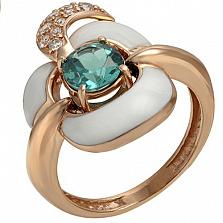 Золотое кольцо Франсуаза с зеленым кварцем, фианитами и эмалью