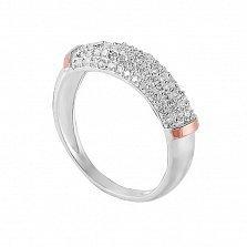 Серебряное кольцо Милагрос с золотой вставкой и фианитами