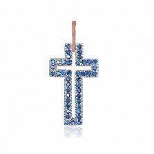 Серебряный крестик Руфина с синими фианитами и позолотой