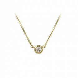 Золотое колье Глория в желтом цвете с завальцованным бриллиантом