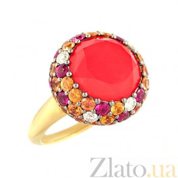 Золотое кольцо с кораллом, рубинами и бриллиантами Лоренца 1К113-0162
