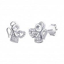Серебряные серьги-пуссеты Ангелочки с фианитами и родием