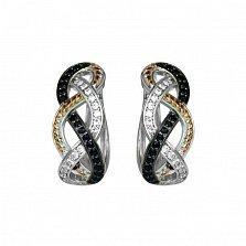 Серебряные родированные серьги Спираль с черными и белыми фианитами
