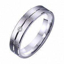 Обручальное кольцо из белого золота Дорога счастья с фианитом