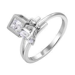 Серебряное кольцо с кубиком и цирконием 000112724