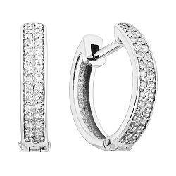 Серьги-кольца из белого золота с бриллиантами, d 15мм 000124599