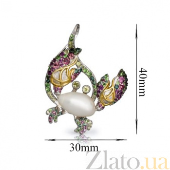 Серебряный подвес с жемчугом, гранатами, турмалином и хризолитами Крабик 000027233