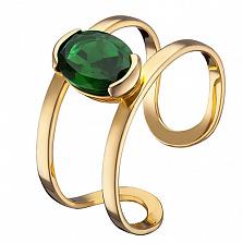 Кольцо из желтого золота Альбина с зеленым кварцем