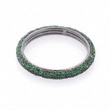 Золотое кольцо Шарпи с чернением и зелеными гранатами