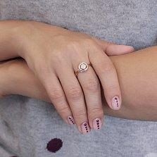 Золотое кольцо Цветок в круге с белым цирконием