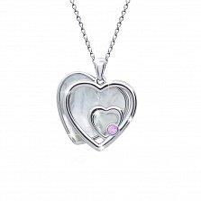 Серебряное колье Сердце большое двойное с белым перламутром, 20x21мм