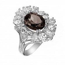 Серебряное кольцо Раулия с цветком из раухтопаза и фианитов