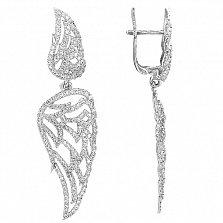 Серьги-подвески Ангельские крылья в белом золоте с цирконием