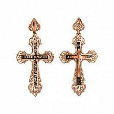Золотой крестик с черной эмалью Небесный Ангел