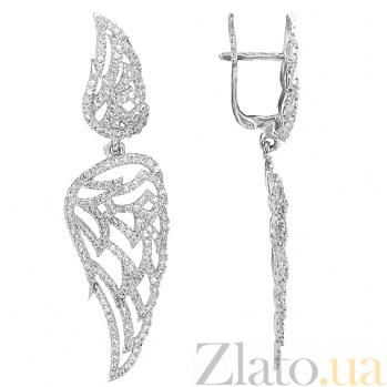 Серьги-подвески Ангельские крылья в белом золоте с цирконием VLT--ТТ2578