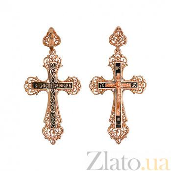 Золотой крестик с черной эмалью Небесный Ангел VLT--КЭ3М3654