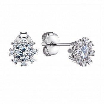 Срібні сережки-пусети з фіанітами 000122606