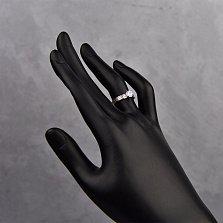 Серебряное кольцо Иванна с цирконием и насечками