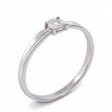 Помолвочное кольцо из белого золота с бриллиантом и алмазной гранью 000124891