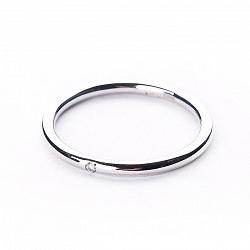 Обручальное кольцо из белого золота Вместе навсегда с бриллиантом